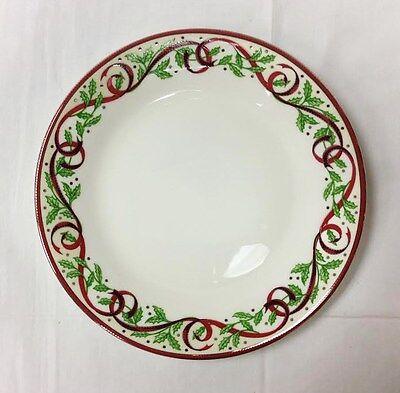 "PICKARD ""HOLLY"" CHRISTMAS SALAD PLATE 8 1/4"" PLATINUM WHITE PORCELAIN NEW U.S.A."