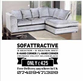 Sofa right hand corner sofa silver crush velvet