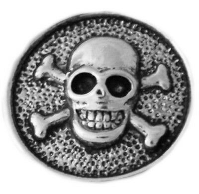 Silver Halloween Skull and Bones Pirate 20mm Snap Charm For Ginger Snaps - Skull And Bones Halloween