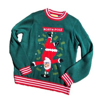 Cheeky green and red Christmas sweater featured Santa on a pole ()