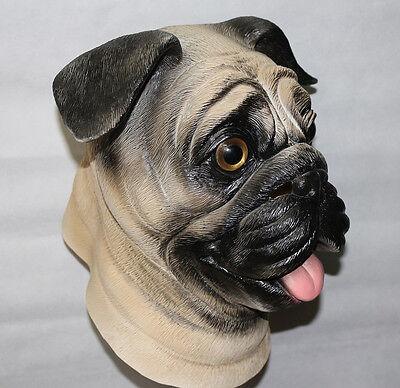Pug Dog Mask Latex Animal Fancy Dress Canine Halloween Pet Stag Night Costume (Pug Halloween Mask)