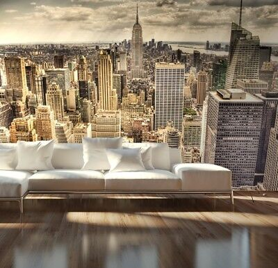 Giant Wall mural photo wallpaper New York Skyline Sepia bedroom decor 2 sizes