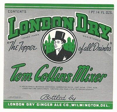 1940's London Dry Tom Collins Mixer Label - Wilmington, DE