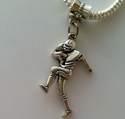 Football Player Sport Dangle Bead fits Silver European Charm Bracelets Necklace](Football Bead Necklace)