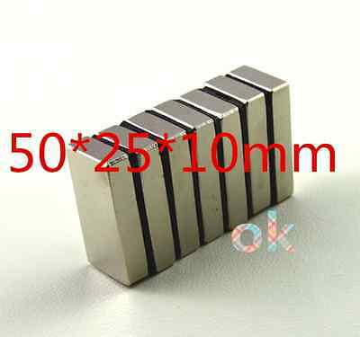 5pcs Super Strong Rare Earth Magnets Neodymium Block Magnet 50x 25x10 Mm N52