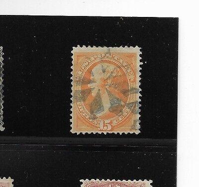 Us Sc 152 Used 15C Orange Daniel Webster Bank Note Fancy Cancel 1870 F Vf Solid