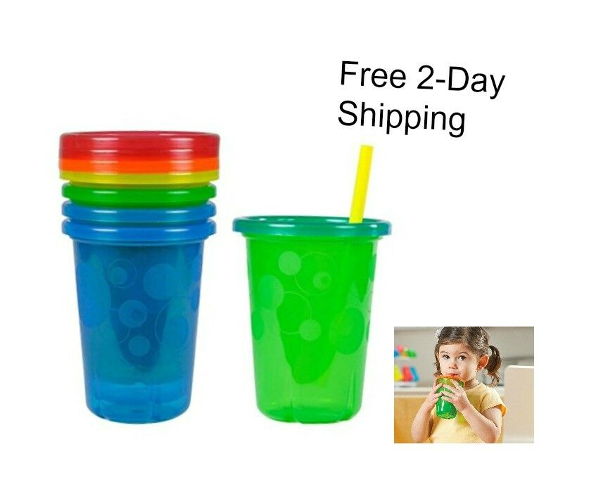 Spill Proof Straw Sippy Cups with Snap Lids Toddler Kids Dri