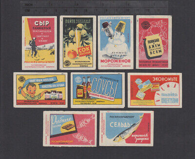 Series of Old Soviet Matchbox Labels 9x 2.