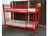 Bunk Bed with Mattresses Metal Red from Jay-Be