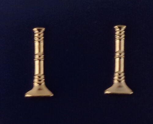 "Fire LT Lieutenant 1 Single Bugle 1"" Gold Pair Large Collar/Epaulet Pins"