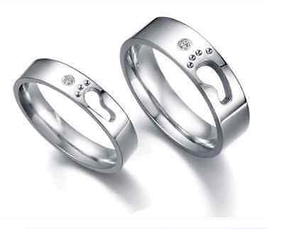 Titanium Steel Korean Style Love Footprint Design Love Couple Rings best (Best Couple Ring Design)