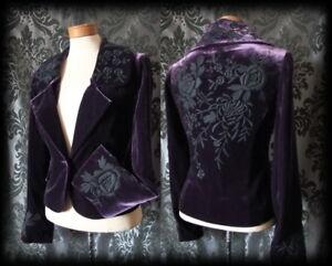 Gothic Purple Velvet Black Embroidery Detail RAPTURE Jacket Coat 12 14 Victorian