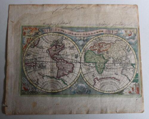 1720 Hand Colored Typus Orbis Terrarum featuring California as an Island