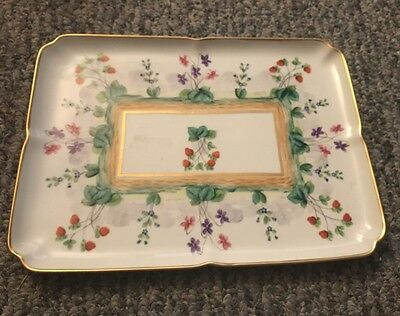 Antique Rare Limoges France Hand Painted Platter Tray - Flowers And Strawberries