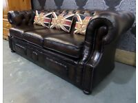 Stunning Refurbished Chesterfield Mansfield Large 3 Seater Sofa in Brown Leather - UK Delivery