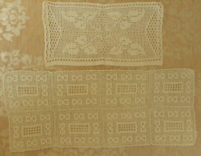 Vintage handmade Tatted lace tray dressing table cloths mats Leaves square doily