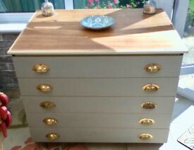 Large Wooden Architects Plan / Map Chest