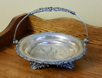 Antique Britannia Co. Silver Plate Bride's Cake Basket c1957