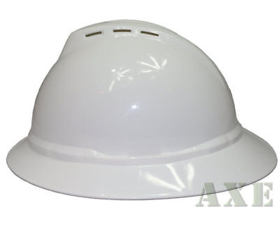 Msa V-guard Full Brim Hard Hat Vented 4-point Ratchet Suspension White