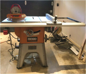 "RIDGID 10"" TABLE SAW - BANC DE SCIE + *new* DADO SET 8"" + INSERT"