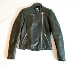 Muubaa Tomorata Black Leather Retro Biker Jacket (X-small)