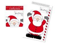 "Pack of 3 PVC Plastic Giant Christmas Santa Sacks Approx size 30"" x 20"""