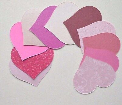 35 Asst Pink Pearl Heart Shaped Card Cut -Outs For Crafts 70mm x 62mm NEW