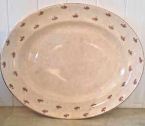 Antiquité Shabby Chic Très grand plateau porcelaine d'Angleterre
