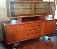 MCM Teak Buffet & Hutch /Sideboard/ TV console- REFINISHED