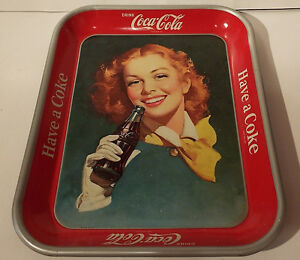 Original 1950 Coca-Cola tray (Girl with wind in her hair) London Ontario image 1