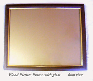 Large Brown Frame, solid wood, glass, ready to hang