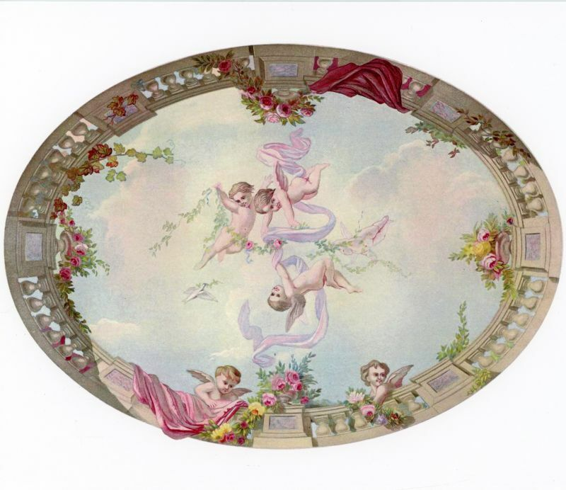 Dollhouse Wallpaper Mural - Ceiling Sky Cupid and Roses 1:24 Scale