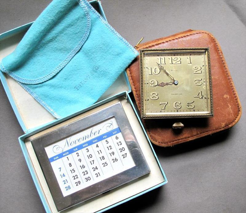 Tiffany & Co. Sterling silver perpetual calendar & Tiffany 8 day Swiss travel