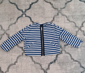 White and navy zip up jacket size 10