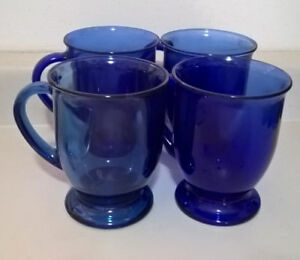 Vintage Anchor Hocking Cobalt Blue Glass Mugs