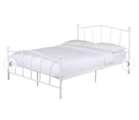 Brand new king size white metal bed frame