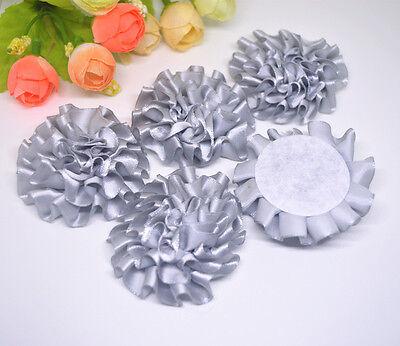 5pcs Gray ribbon big Peony Flower Appliques/craft/Wedding decoration#