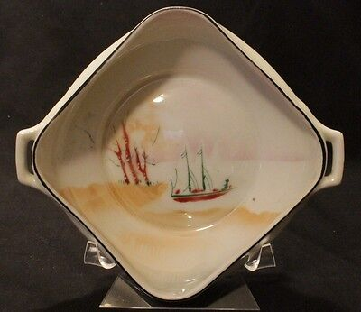 PROV SXE DISH TRAY GERMAN ANTIQUE SAILING SHIP SQUARE Erdman Schlegelmilch
