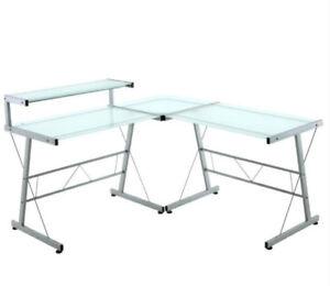 Three-Piece L-Shaped Glass Desk Set