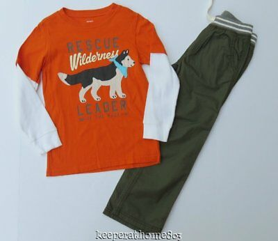 Carter's Wilderness Husky Dog Wolf Graphic T-Shirt Olive Twill Pants 6 EUC