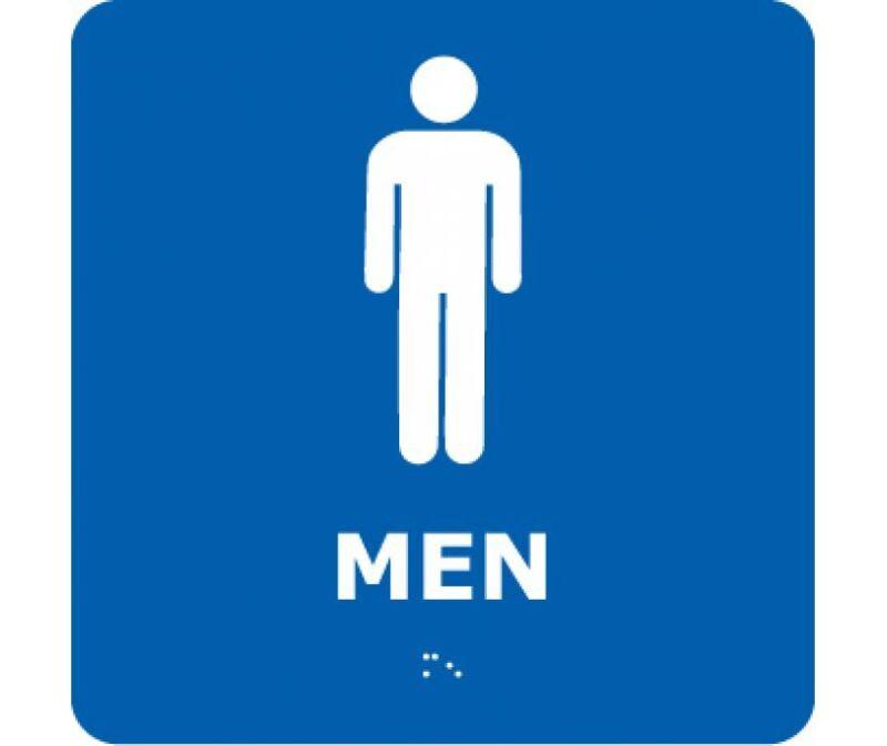NEW National Marker ADA1WBL MEN BRAILLE SIGN