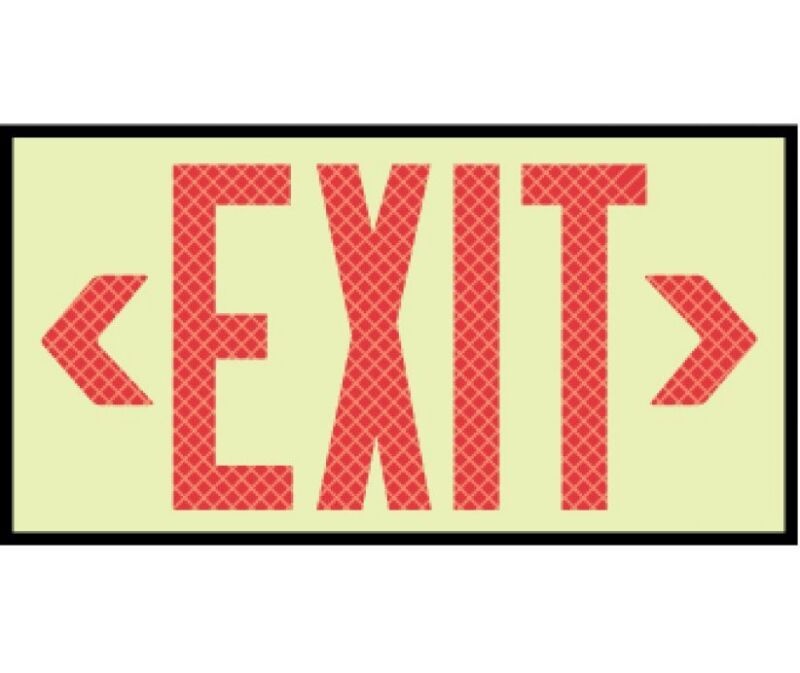 NEW National Marker 7310 GLOW REFLECTIVE RED EXIT SIGN