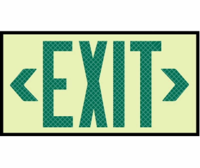 NEW National Marker 7320 REFLECTIVE GLOW GREEN EXIT SIGN