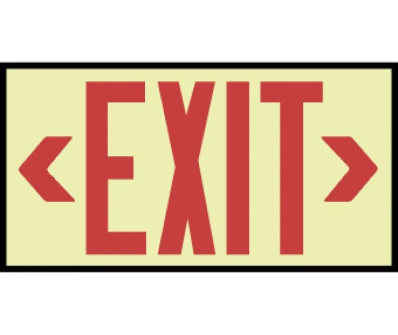 NEW National Marker 7210 GLOW RED EXIT SIGN
