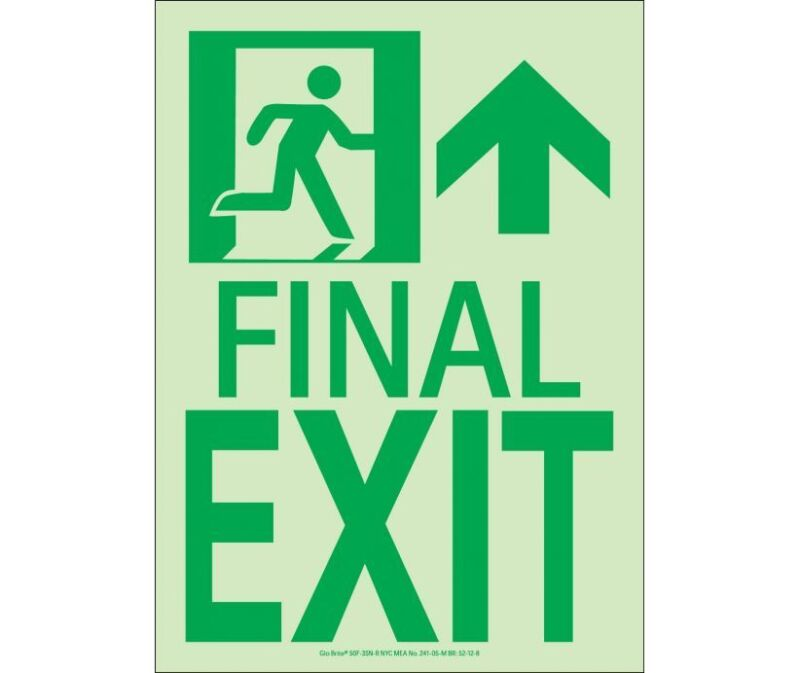 NEW National Marker 50F-3SN-R FINAL EXIT SIGN