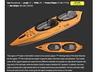 Lagoon 2 Inflatable 2 seater Kayak (Only used ONCE!) with paddles.