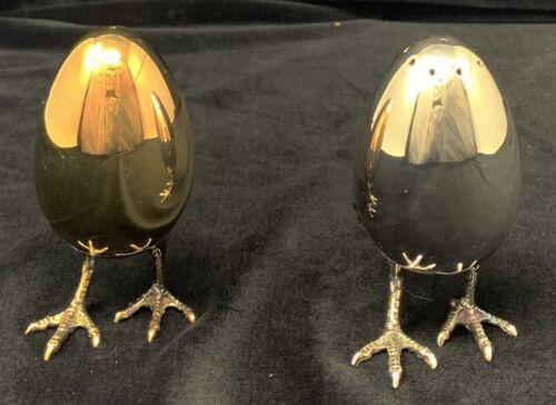 Asprey Whimsical Sterling Salt&Pepper Shakers Eggs with Chicken Legs 2011 Unused