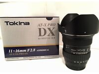 Tokina Lens 11mm - 16mm wide angle F2.8 AT-X PRO DX for digital SLR .. great condition!