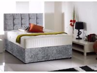 FREE AND FAST DELIVERY -- NEW DOUBLE OR KING CRUSHED VELVET DIVAN BED BASE + DEEP QUILT MATTRESS