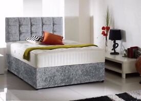 BRAND NEW DOUBLE OR KING SILVER OR BLACK CRUSHED VELVET DIVAN BED WITH OPTIONAL DRAWERS + MATTRESS